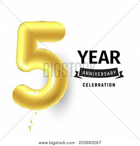 Inflatable golden ball one year with symbol 5. Vector illustration or poster for fifth birthday celebrating of a child, business, anniversary
