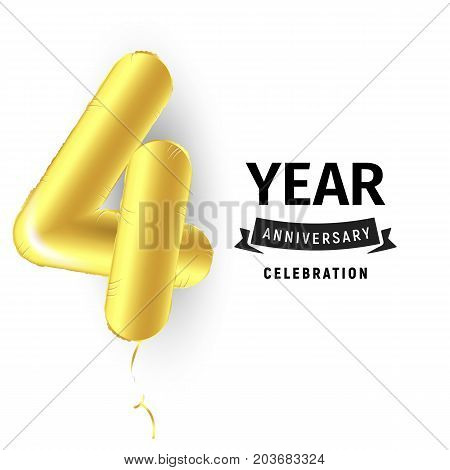 Inflatable golden ball one year with symbol 4. Vector illustration or poster for fourth birthday celebrating of a child, business, anniversary