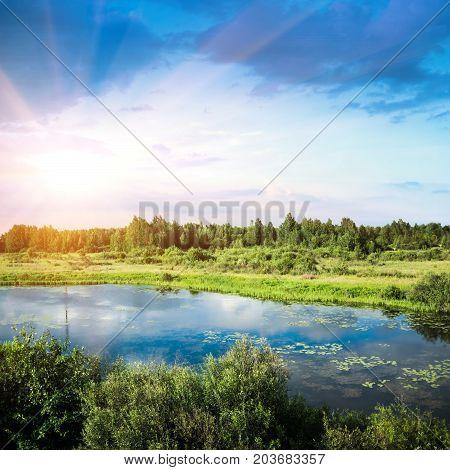 Summer beautiful landscape. Outdoor non-urban panorama photo