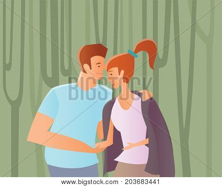Young couple in love. Man and woman walking among trees in a Park or in the woods. Vector illustration.
