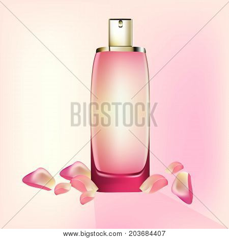 Perfume Cosmetics package Vector realistic mock up. Eau de toillete golden bottle Perfect for advertising, flyer, banner, poster. 3d illustrations