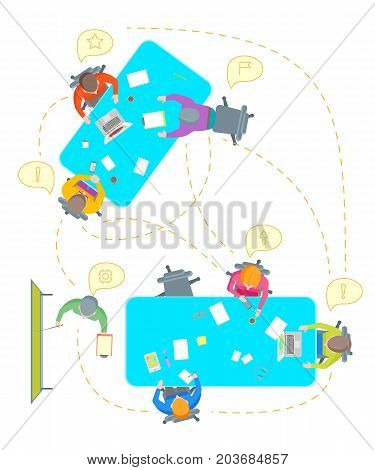 Cartoon Teamwork Brainstorming Top View Work Together Expert at Table Business Development Concept Flat Design Style . Vector illustration of Brainstorm