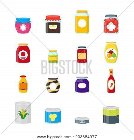 Cartoon Canned, Preserve and Jar Food Color Icons Set Conserve Concept Flat Design Style . Vector illustration of Can Nutrition