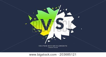 Bright poster symbols of confrontation VS, can be the same logo. Vector illustration on a color background with a trendy minimalist style.