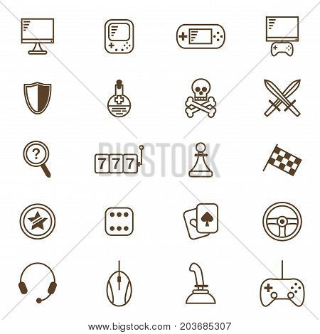 Gambling, Table and Computer Game Thin Line Icon Set for Web and App. Vector illustration of Gaming Symbol