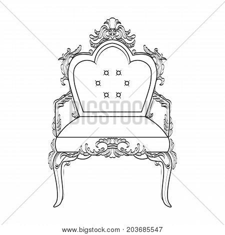 Armchair with luxurious ornaments. Vector French Luxury rich intricate structure. Victorian Royal Style decors