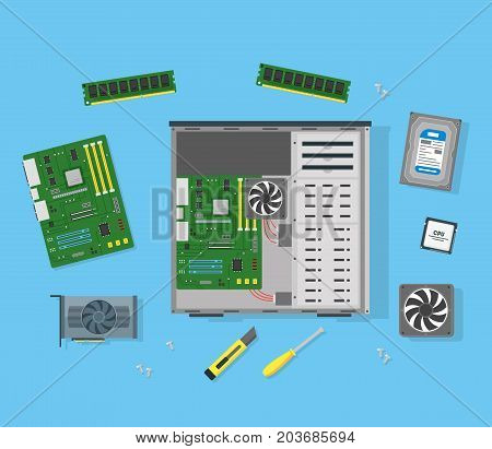 Cartoon Personal Computer Components Circuit Board Element Device Concept Flat Design Style. Vector illustration of Pc Technology Component Set