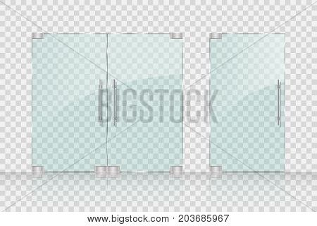 Store, Mall glass doors for market and boutique. Glass doors isolated on transparent background. vector illustration EPS 10