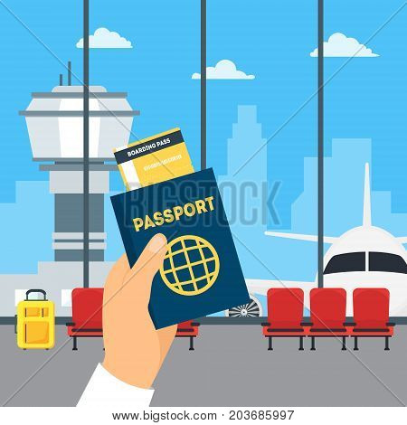 Cartoon Airport Waiting Interior of Terminal Hall and Hand Holding Passport and Boarding Pass Travel Concept Flat Design Style. Vector illustration of Wait Flight