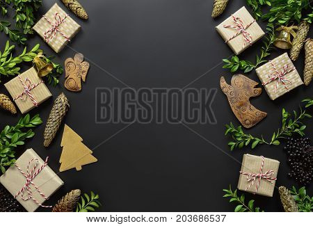 Noel greeting card template flat lay composition space for a text view from above