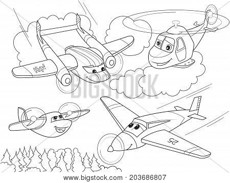 cartoon coloring helicopters and planes with faces. Live transport. Vector illustration.