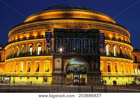 London, UK, August 9, 2007 : The Royal Albert Hall in Kensington at night where the Proms classical concert is held each year