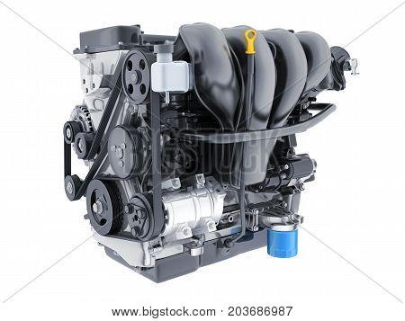 Engine car on white isolated background. 3d illustration