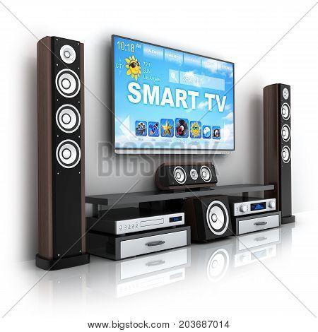 Smart TV and hi-fi. Home-cinema modern. 3d illustration