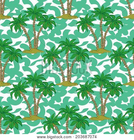 Seamless Pattern, Exotic Landscape, Tropical Palm Trees and Tile Green and White Background. Vector