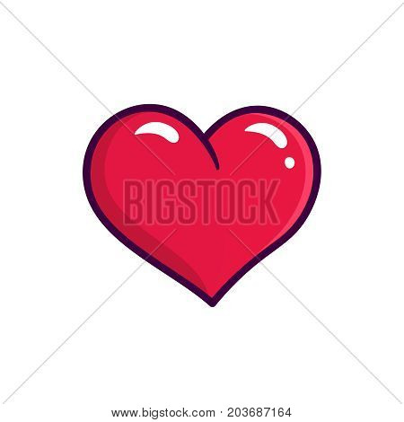 Red heart icon isolated on white background. Love symbol in outline flat style for emoji or logo design. Vector line art illustration with cardiology health care sign concept
