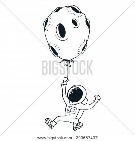 Spaceman keeps for moon.Prints design.Childish vector illustration