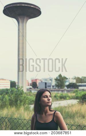 Young Woman Posing In An Urban Context