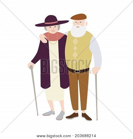 Pair of old man and woman dressed in stylish clothing standing with canes and embracing each other. Senior loving couple. Flat cartoon characters isolated on white background. Vector illustration