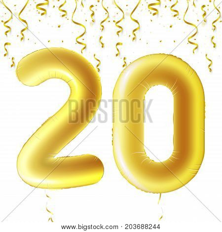 Inflatable golden balls with falling confetti and hanging ribbons. Twenty years, symbol 20. Vector illustration, logo or poster for twentieth birthday celebrating