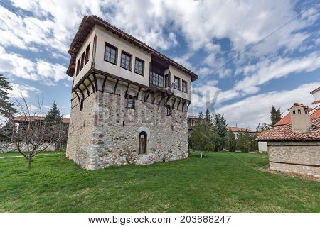 Amazing view of medieval Tower of Angel Voivode in Arapovo Monastery of Saint Nedelya, Plovdiv Region,  Bulgaria