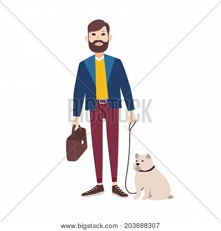 Young smiling man with beard dressed in stylish clothing walking bulldog. Flat cartoon character holding his dog in leash isolated on white background. Pet owner. Colorful vector illustration