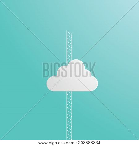 Business ambition concept vector with corporate ladder climbing through cloud. Eps10 vector illustration.