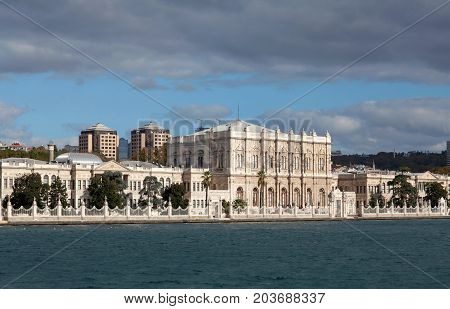 Dolmabahce Palace in Besiktas district on the European coast of the Bosphorus in Istanbul, Turkey