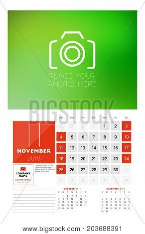 Wall Calendar Template For 2018 Year. November. Vector Design Print Template With Place For Photo. W