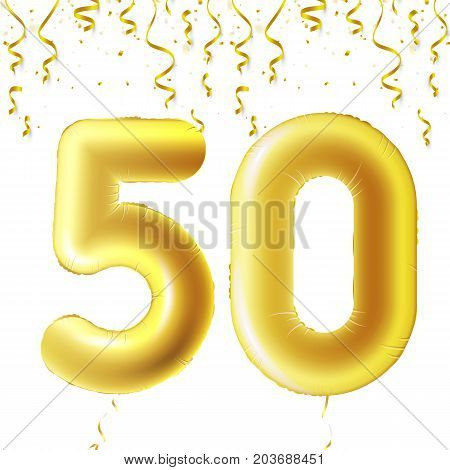 Inflatable golden balls with falling confetti and hanging ribbons. Fifty years, symbol 50. Vector illustration, logo or poster for fiftieth birthday celebrating