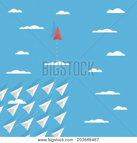 Business game changer concept vector with one paper plane flying in different direction than others. Revolutionary idea, brave leadership, unique solution symbol. Eps10 vector illustration. poster