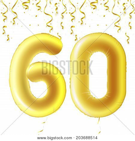 Inflatable golden balls with falling confetti and hanging ribbons. Sixty years, symbol 60. Vector illustration, logo or poster for sixtieth birthday celebrating