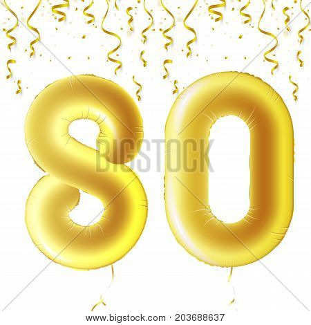 Inflatable golden balls with falling confetti and hanging ribbons. Eighty years, symbol 80. Vector illustration, logo or poster for eightieth birthday celebrating