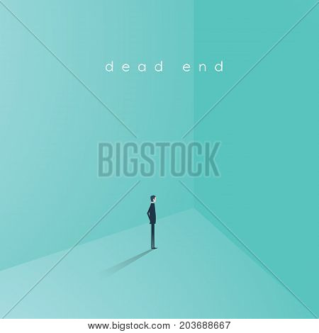 Business career dead end job vector concept. Businesswoman standing in corner as symbol of need for change, new opportunity, direction, challenge. Eps10 vector illustration.