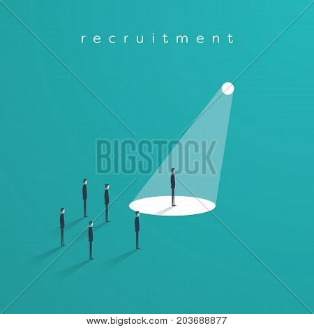Recruitment or headhunting business concept vector with one businessman in spotlight as symbol of search for skillful and talented workers. Eps10 vector illustration.