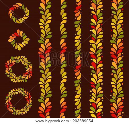 Vector isolated seamless autumn colored vertical line of leaves background. September, october, november simple pattern.