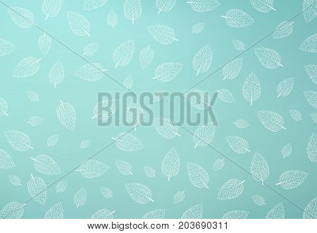Mint leaf pattern Green mint gradient mesh Background copy space Vector illustration