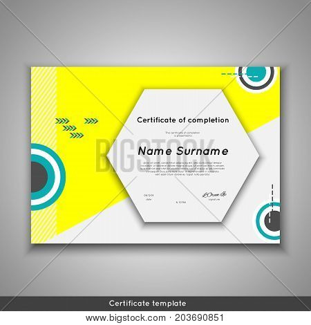 Certificate of completion - appreciation, achievement, graduation, diploma or award with funny geometrical scandinavian pattern with lines. Stock vector.