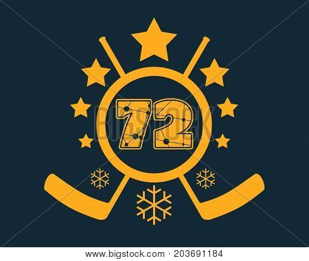 72 number vector illustration. Classic style Sport Team font. Numbers decorated by lines and dots pattern. Ice Hockey Emblem