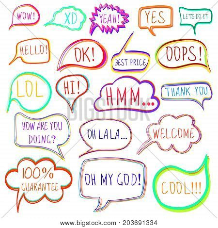 VECTOR set of drawn colorful vector speech and thought bubbles isolated on white