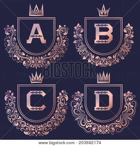 Rose gold coat of arms set in baroque style. Vintage logos with A, B, C, D monogram.