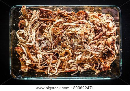 Pulled Pork From Oven In Glass Bowl Ready For Serving.