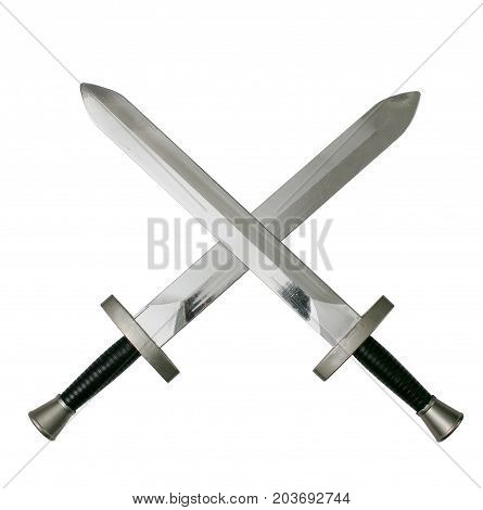 Crossed swords isolated on white. Duel symbol.