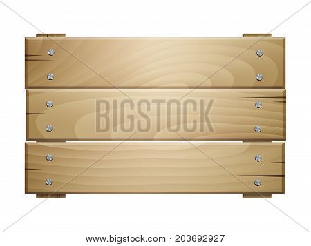 Vector wooden board sign isolated on white background