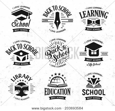 School vector logos set, monochrome vintage design education signs. Back to school, university, college, learning logo collection. Black and white emblems on white grunge background.