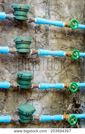 Water Meters Installed On The Pipes With Taps