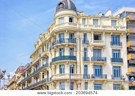 Beautiful daylight view to a hotel facade in Nice Cote d'Azur, France.