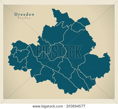 Modern City Map - Dresden City Of Germany With Boroughs De
