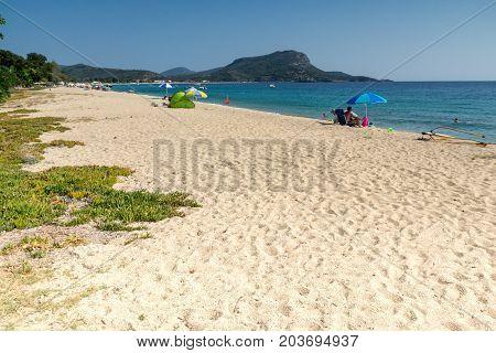 CHALKIDIKI, CENTRAL MACEDONIA, GREECE - AUGUST 25, 2014: Seascape of Toroni beach at Sithonia peninsula, Chalkidiki, Central Macedonia, Greece