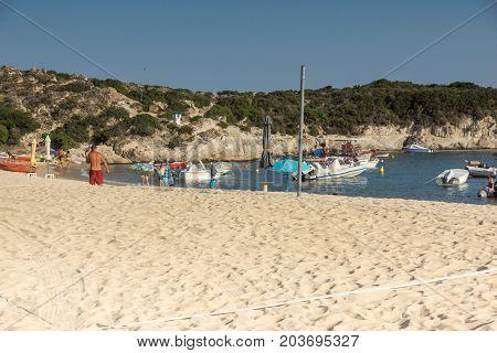 CHALKIDIKI, CENTRAL MACEDONIA, GREECE - AUGUST 25, 2014: Seascape of Kalamitsi beach at Sithonia peninsula, Chalkidiki, Central Macedonia, Greece